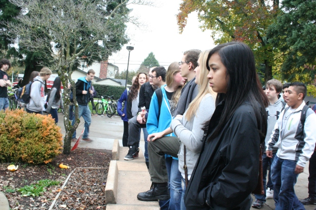 Students view mock cemetary after Every 15 Minutes Event at NEHS